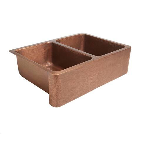 "Sinkology Rockwell Farmhouse Apron Front Double Bowl 33"" Copper Sink"