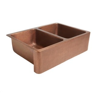 """Sinkology Rockwell Farmhouse Apron Front Double Bowl 33"""" Copper Sink
