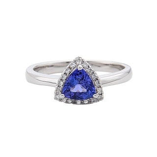 Anika and August 10k White Gold Trillion-cut Tanzanite 1/8ct TDW Diamond Ring (G-H, I1-I2)
