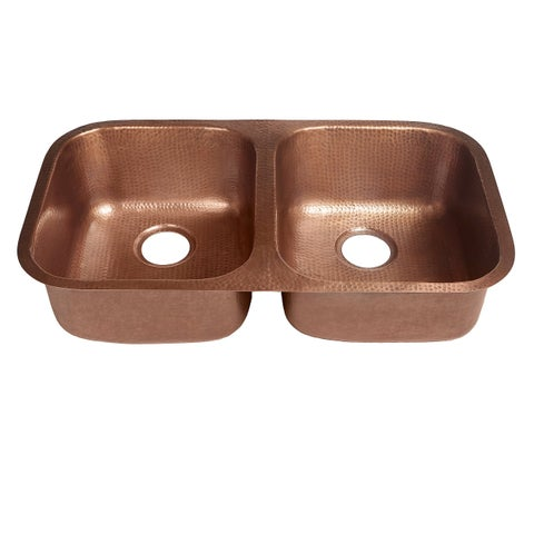 "Sinkology Kadinsky Handmade Undermount Double Bowl 32"" Copper Kitchen Sink - Brown"