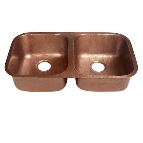 "Sinkology Kadinsky Handmade Undermount Double Bowl 32"" Copper Kitchen Sink"
