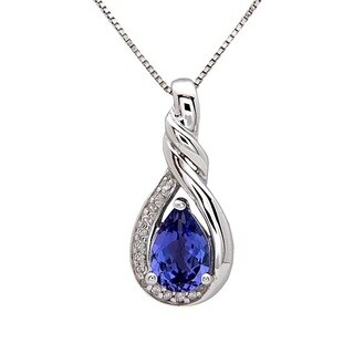 Anika and August Sterling Silver Pear-cut Tanzanite 1/10ct TDW Diamond Necklace (G-H, I1-I2)