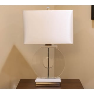 Somette Vanguard Series Crystal Ring with Marble Table Lamp