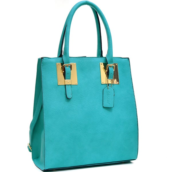 Dasein Structured Faux Leather Tote Bag with Gold-Tone Accent