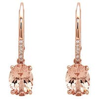 Anika and August 14k Rose Gold Morganite and Diamond Earrings