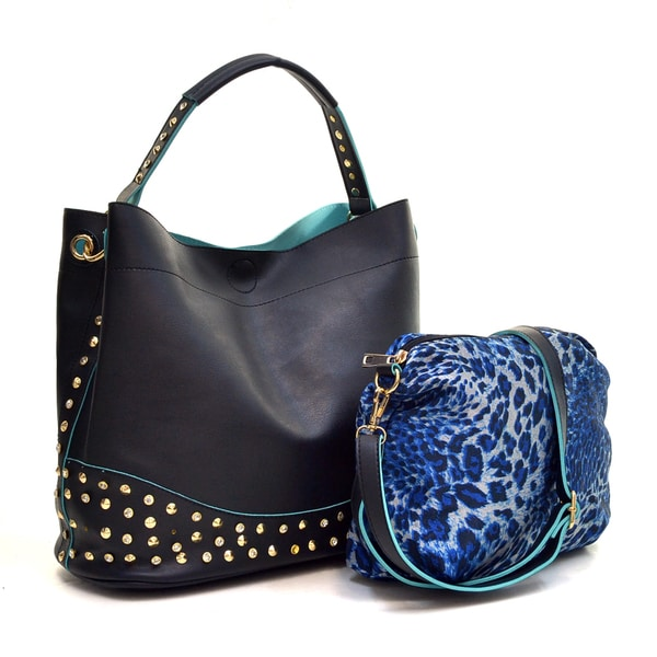 Dasein Faux Leather Studded 2-in-1 Hobo Bag - Free Shipping Today - Overstock - 17240779