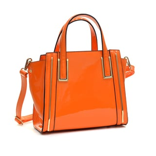 Dasein Faux Patent Leather Winged Tote Satchel
