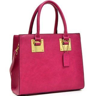 Dasein Structured Faux Leather Satchel with Shoulder Strap