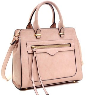 Dasein Faux Leather Satchel with Front Zipper Pocket