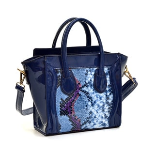 Dasein Faux Patent Leather with Snakeskin Detail Satchel