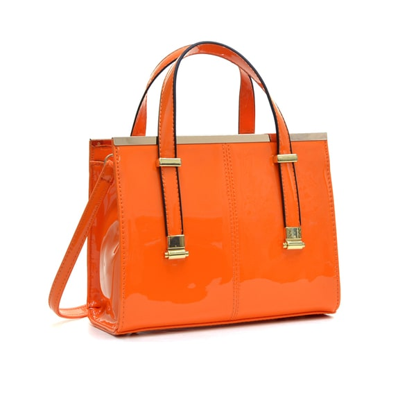 Dasein Faux Patent Leather Gathered Top Tote Satchel