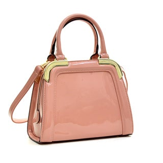 Dasein Patent Faux Leahter Gold-Tone Corner Satchel with Shoulder Strap