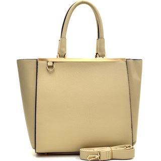Dasein Buffalo Faux Leather Gold-Tone Satchel with Shoulder Strap