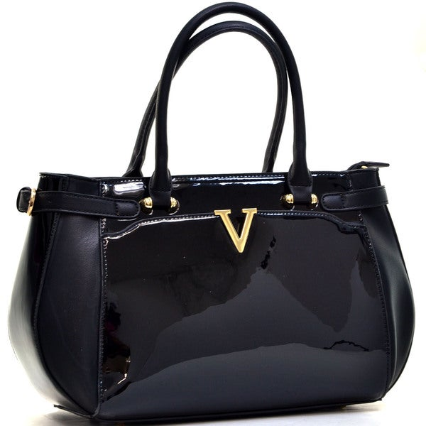 Dasein Faux Patent Leather V Shape Accent Satchel with Shoulder Strap