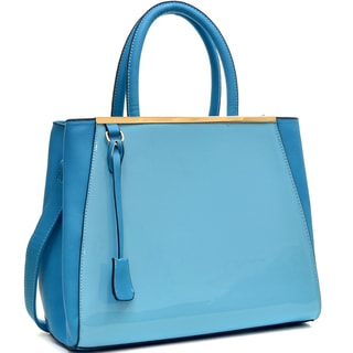 Dasein Structured Patent Satchel with Shoulder Strap