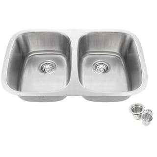 32.25-inch Offset Double 50/50 Bowl Undermount Stainless Steel Kitchen Sink Basket Strainer