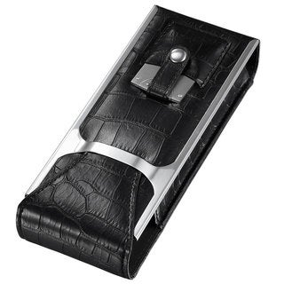 Visol Alton Black Leather Cigar Case, Cigar Cutter and Flask Travel Set