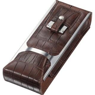 Visol Alton Brown Leather Cigar Tube, Cigar Cutter and Flask Travel Set