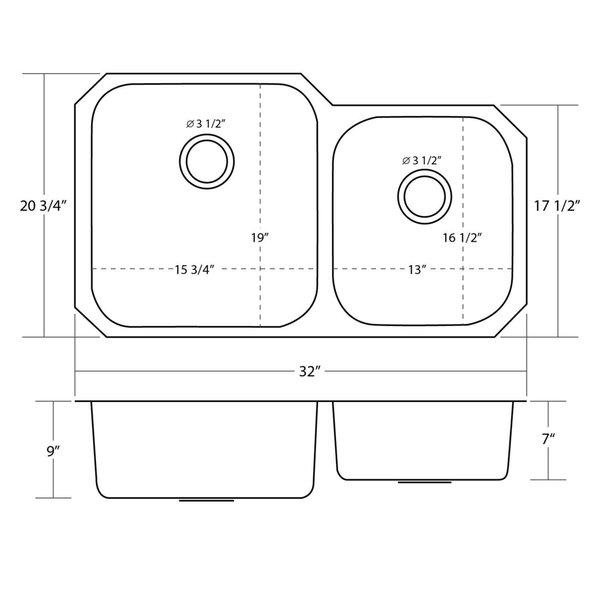 32inch Double 60/40 Bowl Undermount Stainless Steel Kitchen Sink - Silver