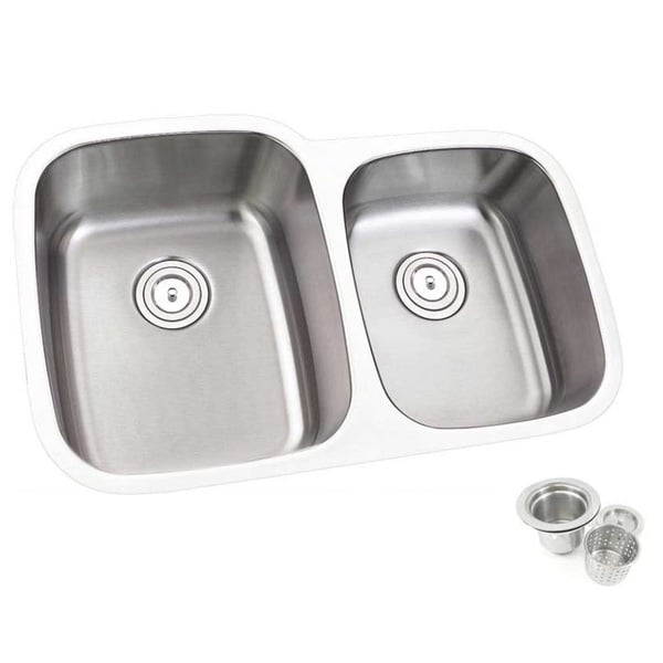 32inch Double 60/40 Bowl Undermount Stainless Steel Kitchen Sink - Silver. Opens flyout.