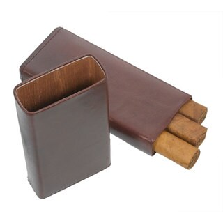 Visol Maurya Brown Leather Cigar Case (Three cigars)