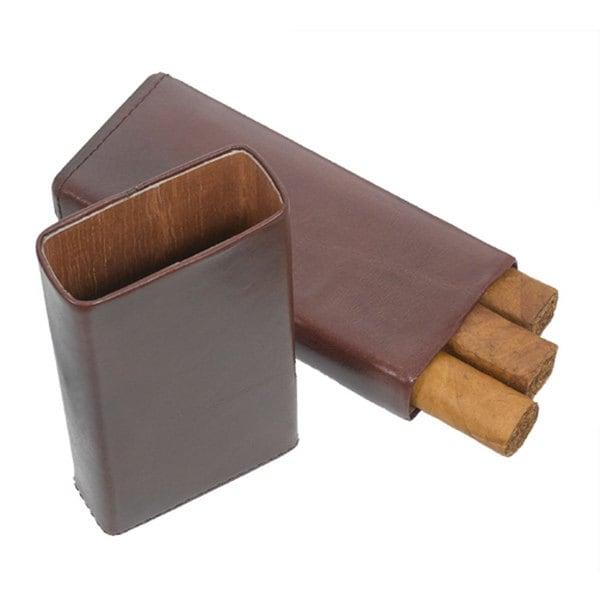 Visol Maurya Brown Leather Cigar Case  (Three cigars)