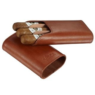 Visol Cuero Genuine Tan Leather 3-Finger Cigar Case