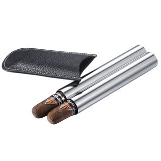 Visol Double Trouble Black Leather And Stainless Steel Cigar Case (Two cigars)