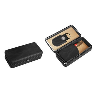 Visol Executive Black Leather Cigar Case With Cutter (Three cigars)