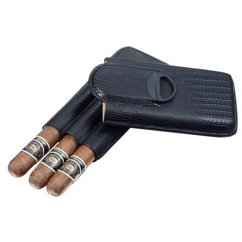 Visol Granada Black Leather 3-finger Cigar Case with Cigar Cutter
