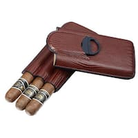 Visol Granada Brown Leather 3-finger Cigar Case with Cigar Cutter