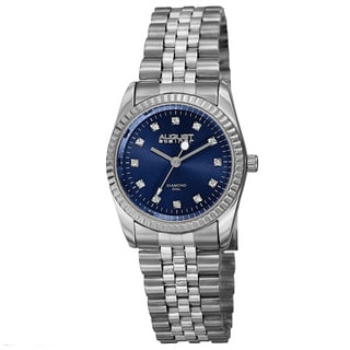 August Steiner Women's Quartz Diamond Markers Stainless Steel Blue Bracelet Watch