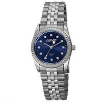 August Steiner Women's Quartz Diamond Markers Stainless Steel Blue Bracelet Watch