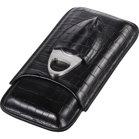 Visol Lincoln Black Leather Cigar Case (Three cigars)