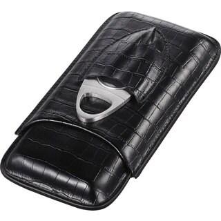 Visol Lincoln Black Leather Cigar Case (Three cigars)
