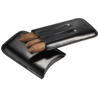 Visol Malfoy Black Leather 3-finger Cigar Case