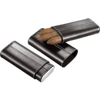 Visol Naturale Black Leather Crushproof Cigar Case  (Three cigars)