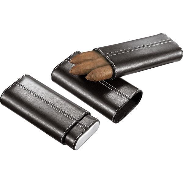 Visol Naturale Black Leather Crushproof Cigar Case  (Three cigars)