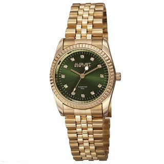 August Steiner Women's Quartz Diamond Markers Stainless Steel Green Bracelet Watch