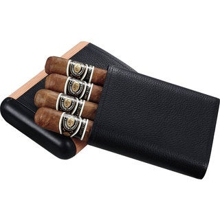 Visol Montrose Black Leather and Wood Cigar Case (Four cigars)
