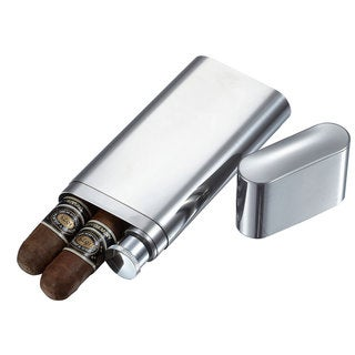 Visol Palencia Polished Stainless Steel 2 finger Cigar Case with Flask