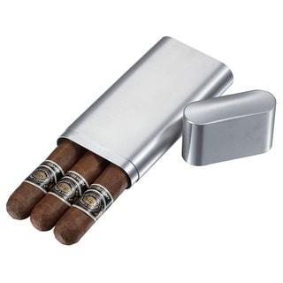 Visol Prato Brushed Stainless Steel 3-finger Cigar Case