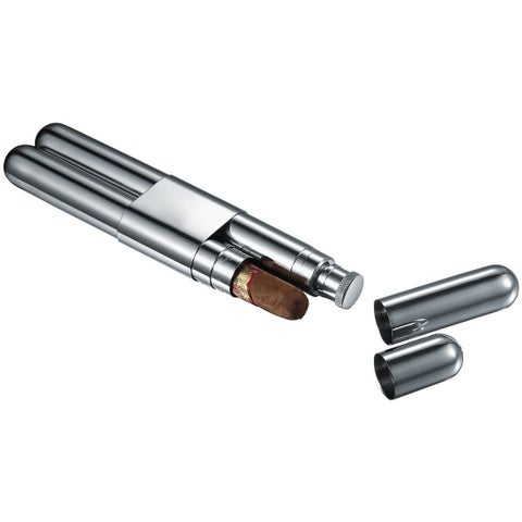 Visol Rage Stainless Steel Cigar Case And Liquor Flask Combo