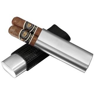 Visol Salerno Black Leather 2-finger Cigar Case
