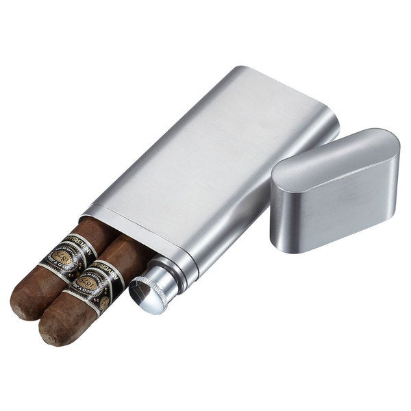 Visol Toledo Brushed Stainless Steel 2-finger Cigar Case with Flask. Opens flyout.
