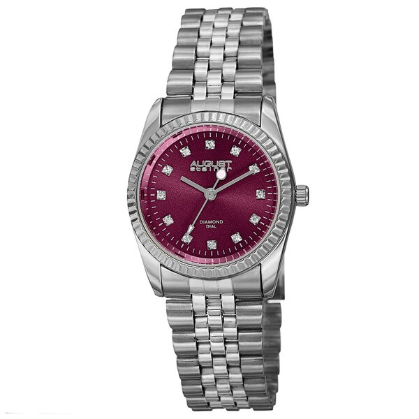 August Steiner Women's Quartz Diamond Markers Stainless Steel Pink Bracelet Watch
