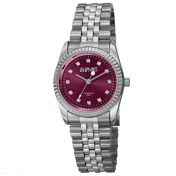 August Steiner Women's Quartz Diamond Markers Stainless Steel Pink Bracelet Watch with FREE Bangle