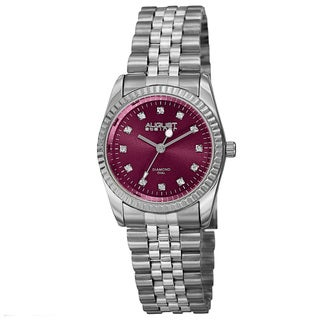 August Steiner Women's Quartz Diamond Markers Stainless Steel Pink Bracelet Watch