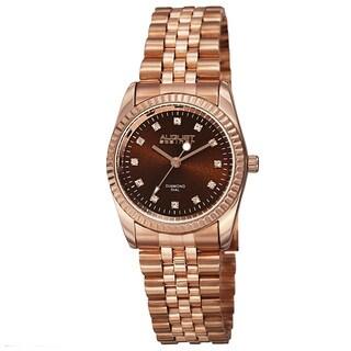 August Steiner Women's Quartz Diamond Markers Stainless Steel Rose-Tone Bracelet Watch