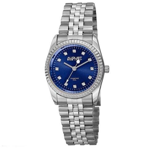 August Steiner Women's Quartz Diamond Markers Stainless Steel Bracelet Watch